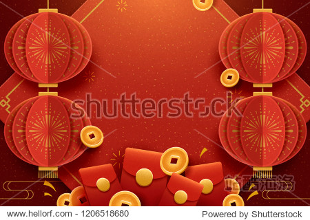 Happy new year greeting poster with hanging lanterns  red envelopes and lucky coins elements  paper art style