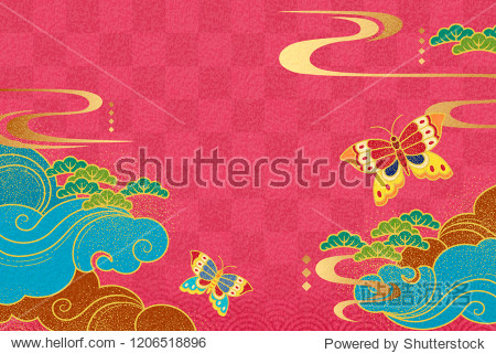 Elegant new year design with butterfly and clouds elements on fuchsia background