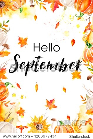 Greeting card hello october with watercolor elements pumpkins  leaves  mushrooms and sunflowers