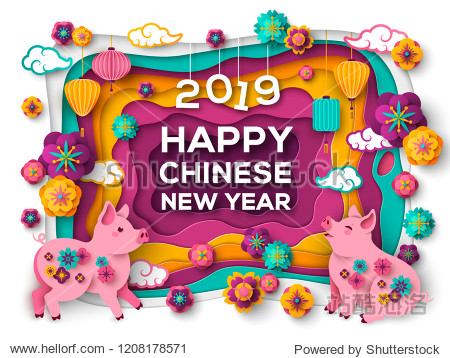 2019 Happy Chinese New Year Greeting Card with Paper cut Colorful Frame  Pigs and Oriental Flowers. Vector illustration.