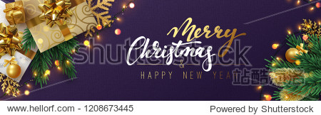Christmas banner  Xmas sparkling lights garland with gifts box and golden tinsel. Horizontal christmas posters  cards  headers  website.