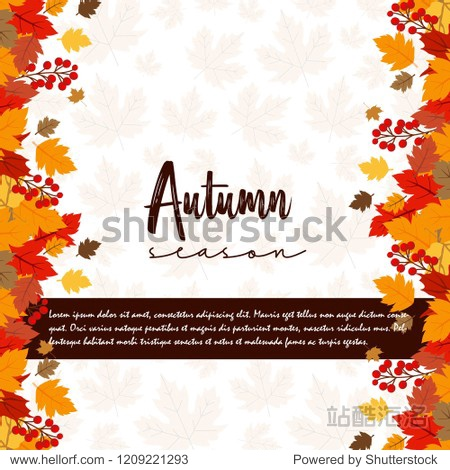 Autumn season typography with creative design and light background