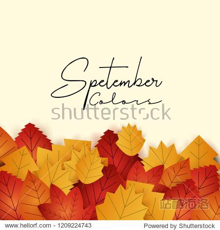 Hello September autumn season design vector
