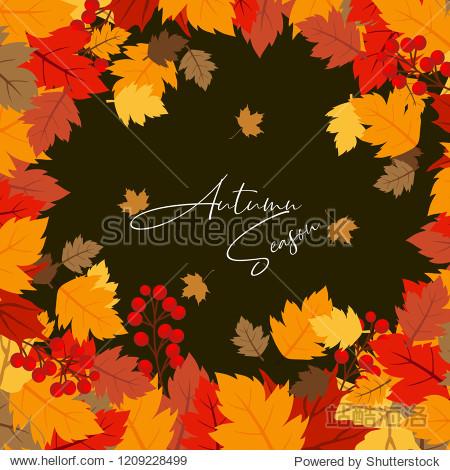 Autumn season design with dark background vector