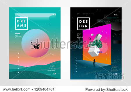 Future  illusions and dreams. Vector illustration of abstract backgrounds for crazy cover  poster or brochure  space banner on the themes of creativity and design