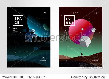 space  abstract background for a poster or cover of the future  a design template from multi-colored gradient  illustrations of planets  a starry sky  a spaceman and mars