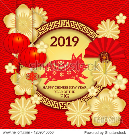 Happy Chinese new year 2019 Zodiac Pig with paper cut art and craft style / Chinese New Year 2019 Paper Cutting Design.
