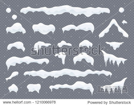 Snow caps  snowballs and snowdrifts set. Snow cap vector collection. Winter decoration element. Snowy elements on winter background. Cartoon template. Snowfall and snowflakes in motion. Illustration.