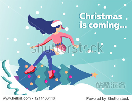 Flat illustration in vector slender girl in traditional suit of Santa Claus snowboards on new year's decorated Christmas tree. Handwritten Christmas is coming. Greeting card with place for text.
