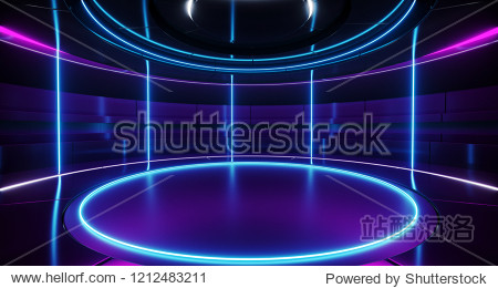 Modern Alien Futuristic Sci Fi Retro Round Empty Stage Hi-Tech Room With Purple And Blue Neon Light Tubes Glowing Presenting Concept Technology 3D Rendering  Illustration
