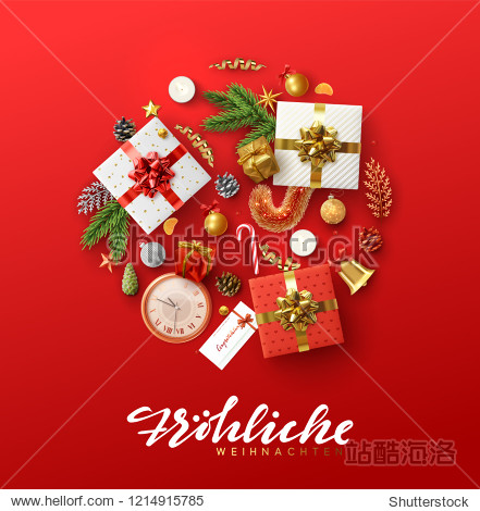 German text Frohliche Weihnachten. Christmas greeting card with holiday objects. Background with gift box and balls design. Postcard with clocks  candles and fir branches. Xmas decoration elements.