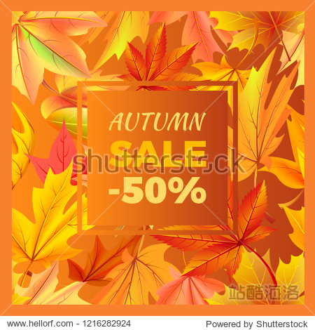 Autumn sale -50% off sign surrounded by frame of golden yellow foliage. raster illustration with orange leaves  discounts half price at fall season