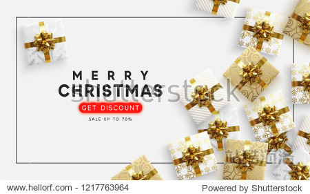 Christmas vector background. Xmas sale  holiday web banner. View top on composition gift box.
