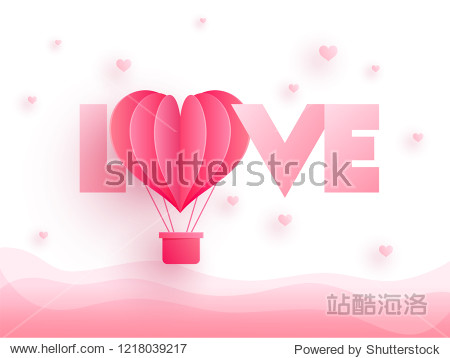 Glossy pink text Love with paper cut hot air balloon on heart decorated background. Can be used as valentines day greeting card design.