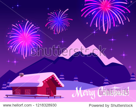Flat vector illustration of fireworks over the mountain landscape with a one-story country house. Greeting card with the inscription merry christmas in purple-pink colors. Holiday at the ski resort.