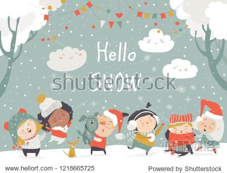 Cartoon happy children enjoying winter. Hello snow