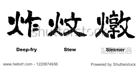 Chinese Calligraphy  Deep fry  Stew  Simmer