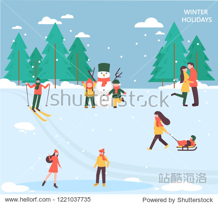 People relax in the park and celebrate winter holidays  flat design  set of vector illustrations. Active adult people and children having fun outdoors.