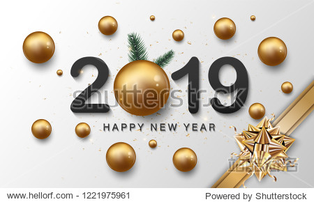 Happy new year lettering and golden style background