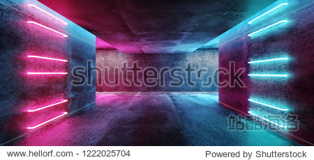 Modern Futuristic Sci Fi Concept Club Background Grunge Concrete Empty Dark Room With Neon Glowing Purple And Blue Pink Neon Lights 3D Rendering Illustration