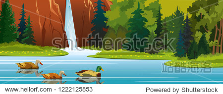 Summer vector illustration with wild nature. Cartoon ducks swimming in the lake near mountain with waterfall  green forest and blooming flowers.