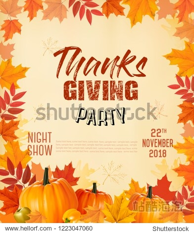 Happy Thanksgiving Party Flyer with colorful leaves and autumn vegetables. Vector.