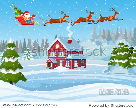 A house in a snowy Christmas landscape. Santa Claus flying on a sleigh. concept for greeting or postal card. Merry christmas holiday. New year and xmas celebration