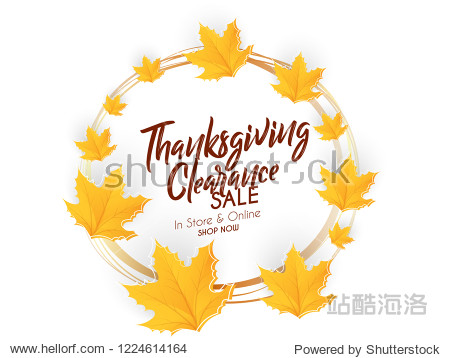 Creative Thanksgiving Clearance Sale with nice and creative maple leaf design illustration in a crisp white background.