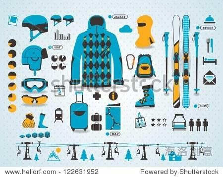ski info graphics  vector symbols