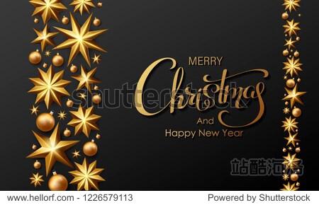 Golden Merry Christmas lettering Background. Calligraphy Inscription Merry Christmas. Vector Stock Illustration.