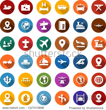 Color back flat icon set - runway vector  arrival  suitcase  baggage conveyor  airport bus  train  reception bell  passport  bed  larry  ladder car  plane  luggage storage  globe  building  earth