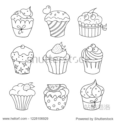 Set of hand drawn cupcakes on white background. Vector illustration.