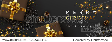 Christmas banner. Background Xmas design of sparkling lights garland  with realistic gifts box  black snowflake and glitter gold confetti. Horizontal christmas poster  greeting cards  headers  website