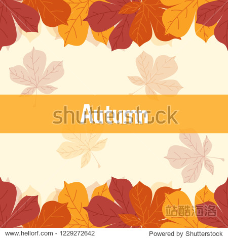 autumn frame pattern template. fall asian maple leaves icons in flat style. yellow background. Design elements for wedding invitation  birthday  wallpaper  greeting cards. object vector illustration