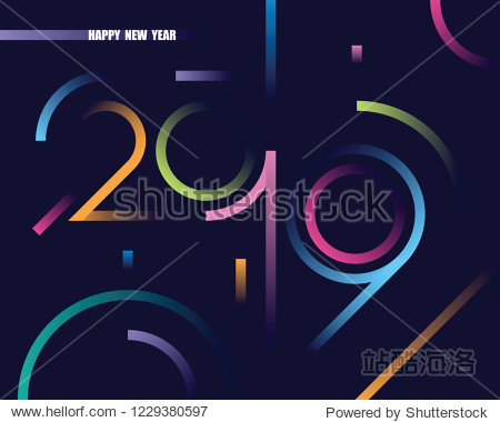 2019 happy new year abstract card design with gradient