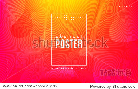 Abstract Geometric Background. Fluid Shapes Composition. Wave Liquid with Distorted Lines. Striped Geometric Poster in Red  Yellow and Orange Colors Design. Landing Page Concept with Vibrant Gradient.