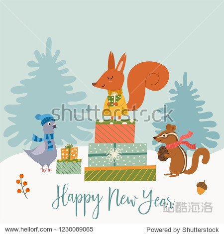 Funny winter card with a cartoon squirrel  dove  chipmunk and gifts. Vector illustration with text. New Year's poster.
