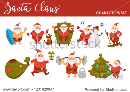 Happy New Year cartoon Santa celebrating holidays skiing with gifts bag or summer ocean surfing.