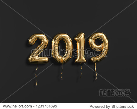 New year 2019 celebration. Gold foil balloons numeral 2019 and on black wall background. 3D rendering