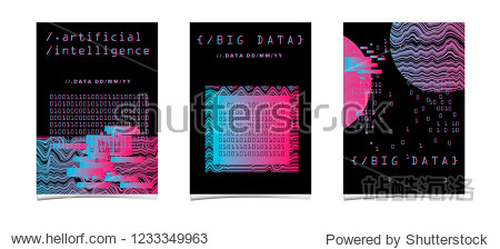 Set of two posters for AI (artificial intelligence) conference  Big Data meetup  Hackathon with Glitch Art Minimal Geometric Composition. Cyberpunk/ synthwave style illustrations.