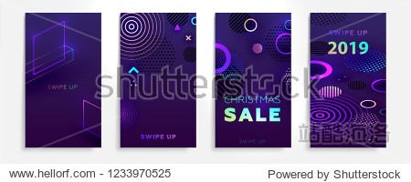 Christmas and New Year stories templates set with trendy geometric elements for modern design. Eps10 vector illustration