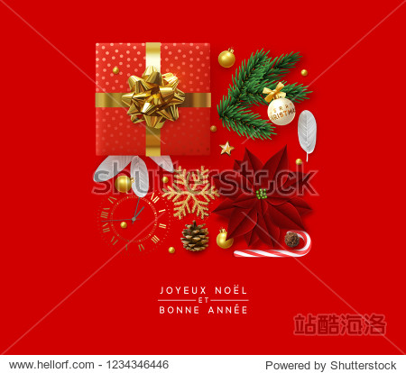 Christmas background with decorative Xmas elements of design. Gift box  shining gold glitter snowflake  golden ball  decoration bauble  sweet candy  pine cone and vintage watches. Greeting card