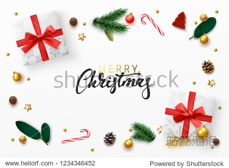 Christmas greeting card. Xmas elements design  white gift box  gold ball  pine branches  candies. Decorative realistic objects. Merry Christmas Calligraphic text. view from above vector illustration