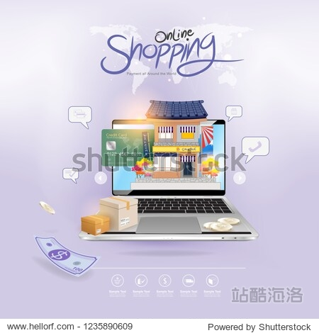 Shopping Online on Website or Mobile Application Vector Concept Marketing and Digital marketing.