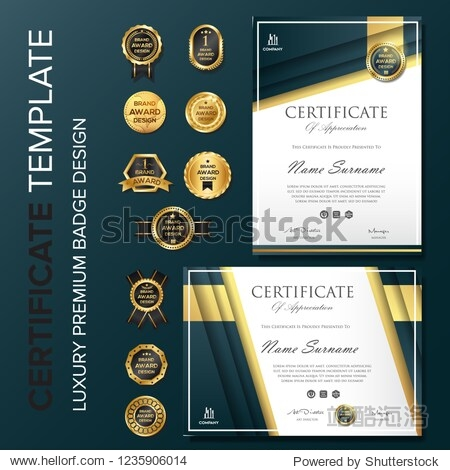 Elegant Certificate design with badge illustration