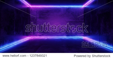 Elegant Sci Fi Minimalistic Futuristic Dark Grunge Concrete Room With Pink Purple Blue Glowing Neon Tube Lines With Reflection Empty Space For Text 3D Rendering