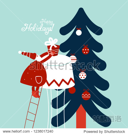 Funny Santa Claus up the stairs with present. Cute Christmas and New Year vector illustration card. Funny winter holiday background