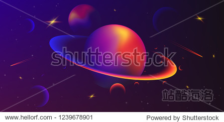 Vector space background with planets and stars. Space exploration. Gradient Fluid Design.