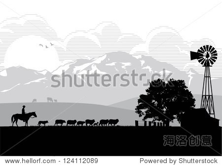Silhouette of a man riding horse in sheep farm  vector