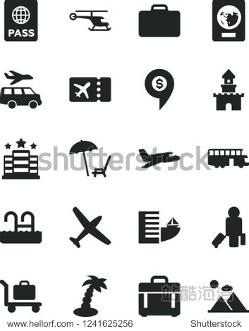 Solid Black Vector Icon Set - case vector  passport  sand castle  helicopter  dollar pin  plane  bus  passenger  suitcase  ticket  hotel  arnchair under umbrella  palm tree  pool  baggage  transfer